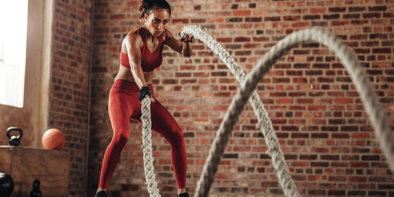 Equilibrium Gym & Fitness Burn Woman Battle Ropes