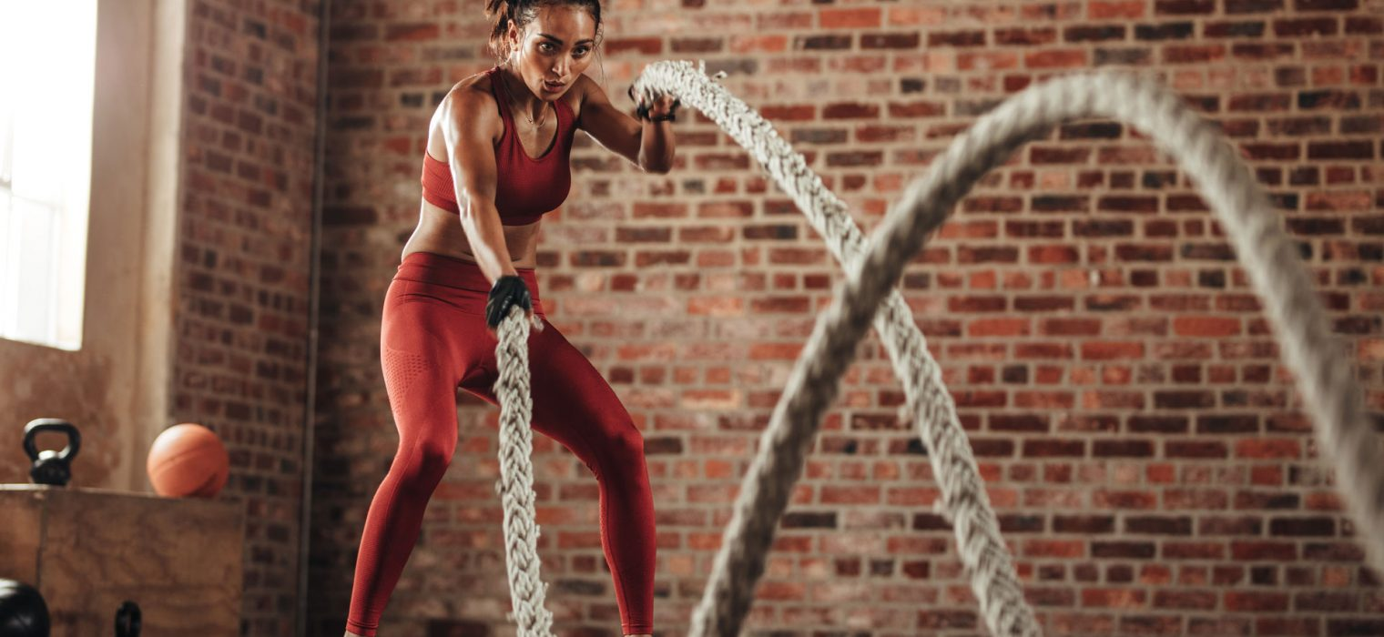 Equilibrium Gym & Fitness Burn Woman Battle Ropes